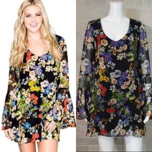 Show Me Your Mumu Barry Bell Sleeve Floral Dress S